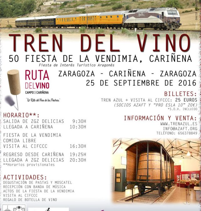 Tren del Vino de Zaragoza a Cariñena el 25 de septiembre